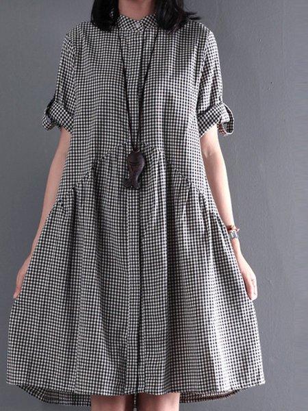 Stand Collar Black Midi Dress Short Sleeve Casual Dress