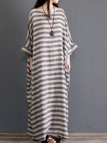 Plus Size Crew Neck Printed Casual Bell Sleeve Cocoon Maxi Dress