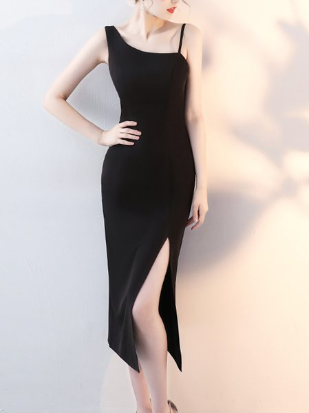 Black One-shoulder Slit Sheath Midi Dress