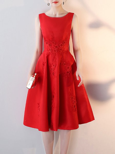 Plain Embroidered Sleeveless Elegant Midi Dress