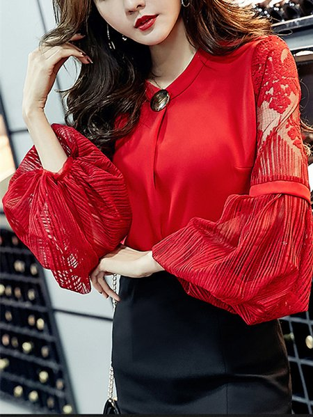 Embroidered Stand Collar Balloon Sleeve Elegant Blouse