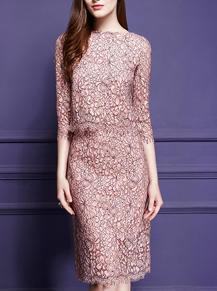 Pink Slash Neck Guipure Lace 3/4 Sleeve Top With Skirt