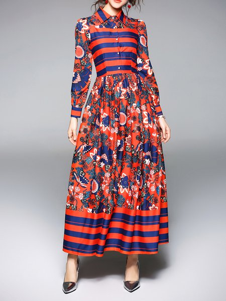 Shirt Collar Long Sleeve Printed Elegant Swing Maxi Dress
