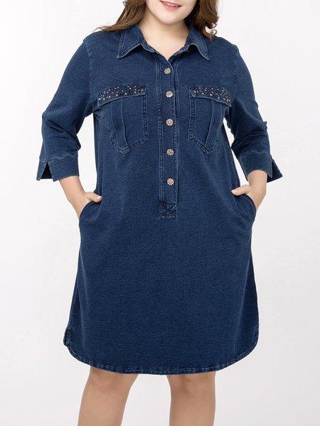 Plus Size Navy Blue Shirt Collar Pockets Denim Casual Midi Dress ...