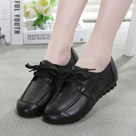 Mori Girl Black Lace-up Flat Heel Leather Casual Oxfords