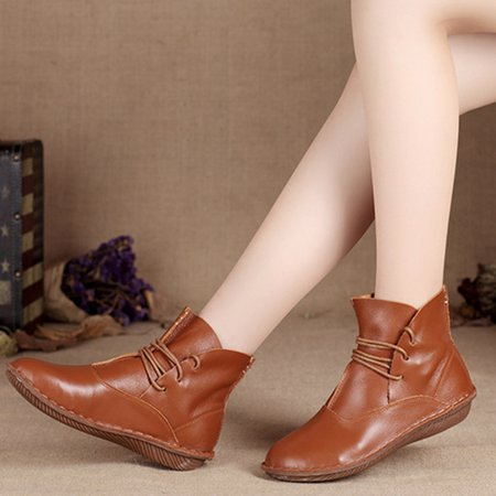 Casual Lace-up Leather Winter Boots