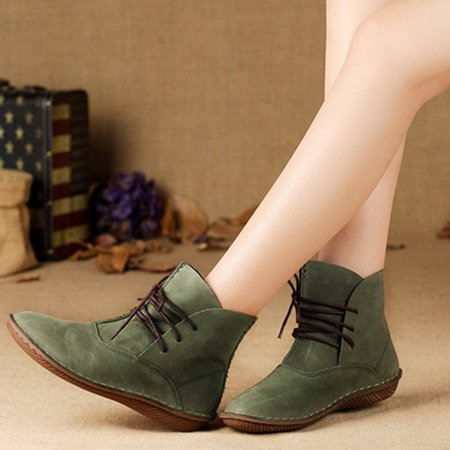 Mori Girl Comfortable Green Casual Lace-up Boots