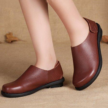 Mori Girl Burgundy Casual Leather Flats