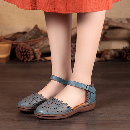 Mori Girl Comfortable Leather Casual Hollow-out All Season Flat Heel Sandals