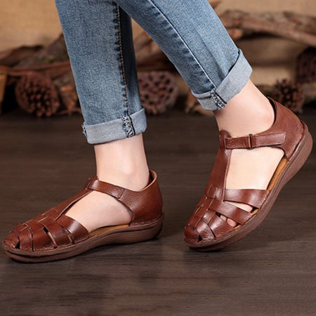 Brown Hollow-out Leather Winter Casual Sandals