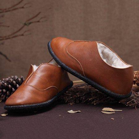 Winter Flat Heel Leather Casual Faux Fur Flats