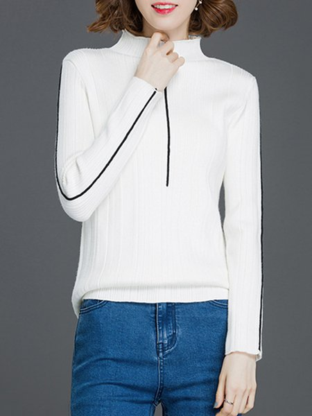 H-line Long Sleeve Turtleneck Knitted Casual Sweater