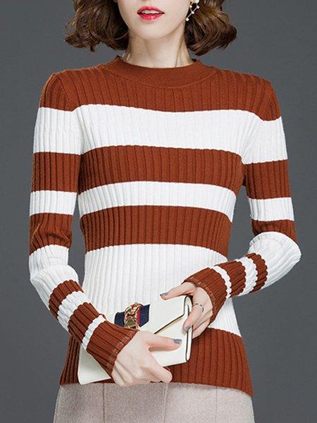 Sheath Long Sleeve Intarsia Casual Stand Collar Sweater