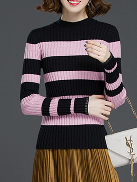 Intarsia Casual Long Sleeve Knitted Sheath Sweater