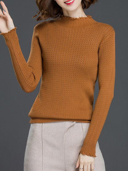 Solid Casual Sheath Long Sleeve Turtleneck Sweater