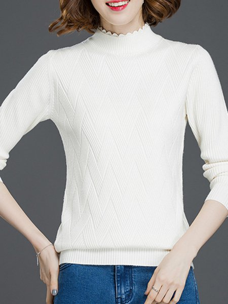 Ribbed Solid Turtleneck Long Sleeve Casual Sweater