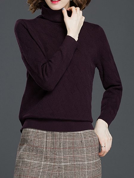 Turtleneck H-line Long Sleeve Knitted Casual Sweater