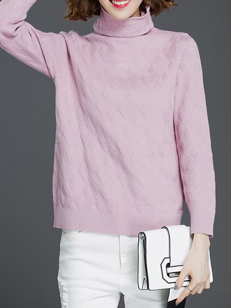 Long Sleeve H-line Knitted Casual Solid Sweater
