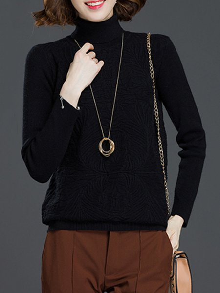 Turtleneck Plain H-line Long Sleeve Casual Sweater