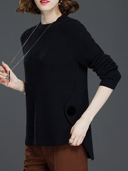 Casual Long Sleeve Knitted Slit Sweater