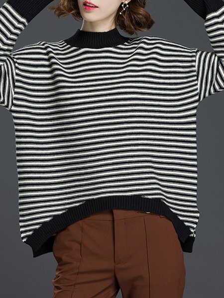 Ribbed Long Sleeve Stripes Casual Stand Collar Sweater