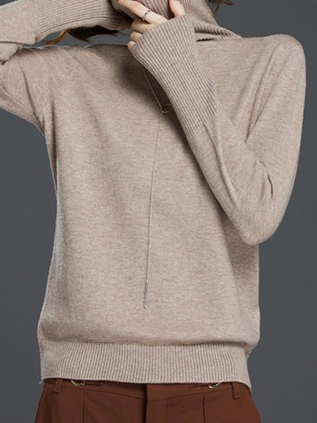 H-line Casual Long Sleeve Turtleneck Solid Sweater