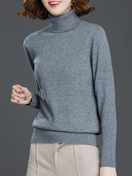 Knitted H-line Long Sleeve Turtleneck Casual Sweater