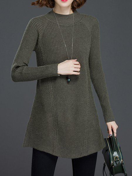 Casual Stand Collar Ribbed A-line Long Sleeve Sweater