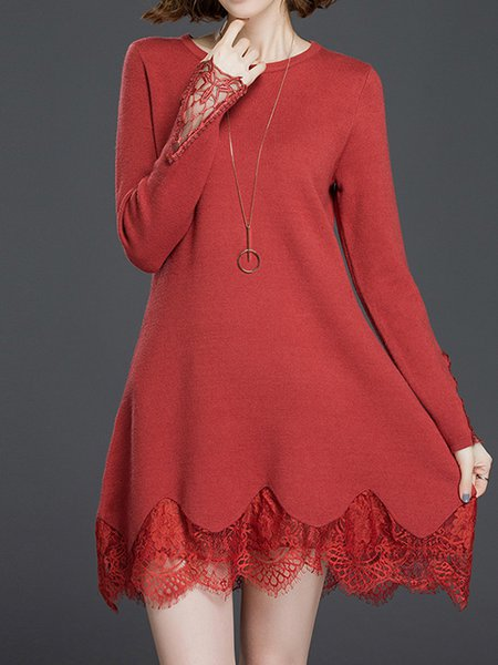 A-line Long Sleeve Casual Crew Neck Sweater Dress