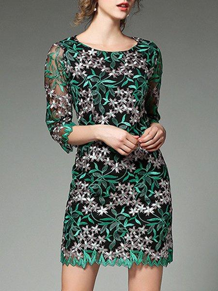 Green Sheath Embroidered 3/4 Sleeve Mini Dress