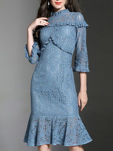 Blue Guipure lace Ruffled Flounce Midi Dress