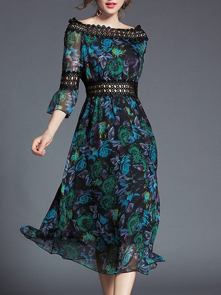 A-line Floral Casual Bell Sleeve Off Shoulder Midi Dress