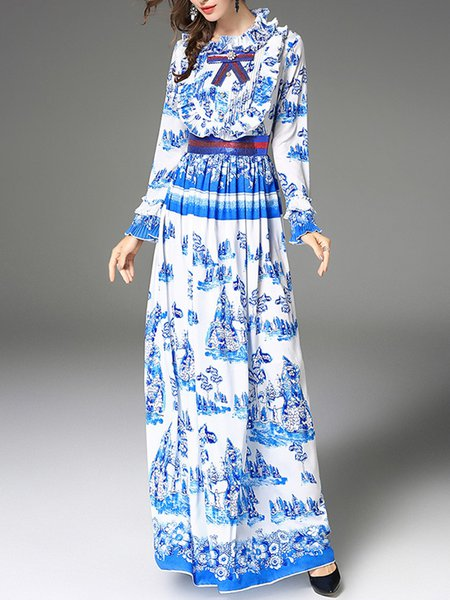 Bell Sleeve Ruffled Ruffled Casual Floral Maxi Dress