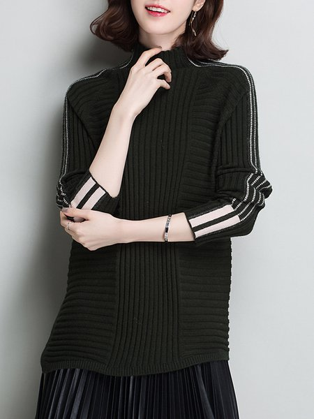 Turtleneck Casual H-line Knitted Long Sleeve Sweater