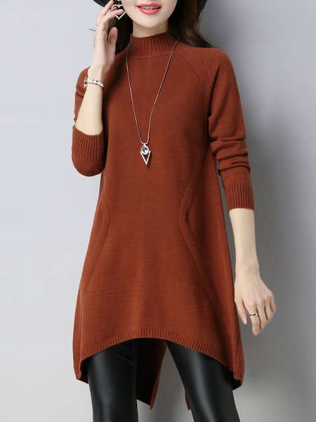 Asymmetric Casual Long Sleeve Turtleneck Sweater Dress