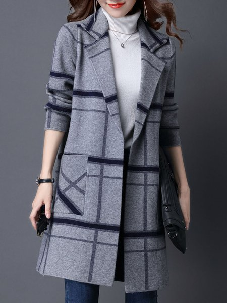 Long Sleeve Knitted H-line Intarsia Casual Cardigan