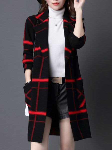 Plus Size Checkered/Plaid Casual Long Sleeve Cardigan