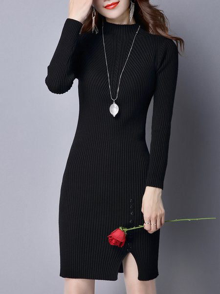 Black Long Sleeve Knitted Slit Turtleneck Sweater Dress