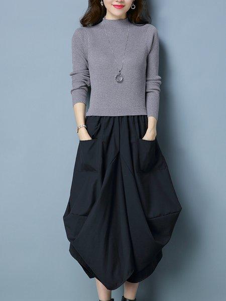 Long Sleeve Turtleneck Ribbed Casual Asymmetrical Midi Dress