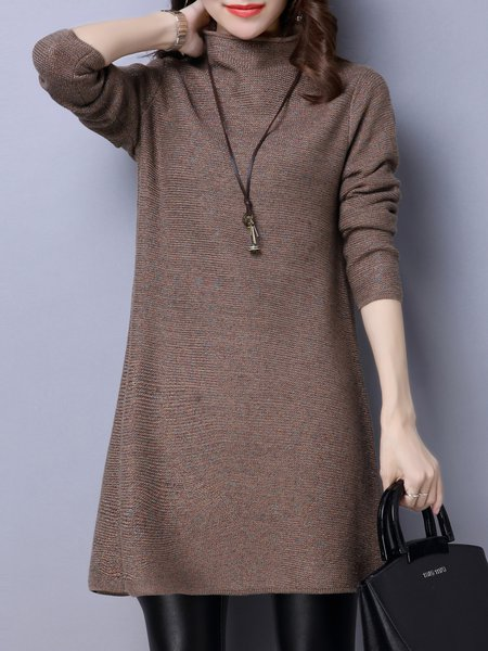 Turtleneck Casual Long Sleeve Plain Sweater Dress