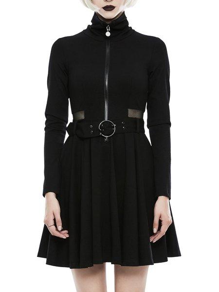 Black Statement A-line See-through Look Mini Dress