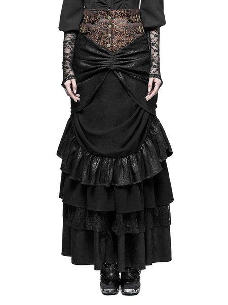 Plus Size Black-brown Paneled Statement Maxi Skirt