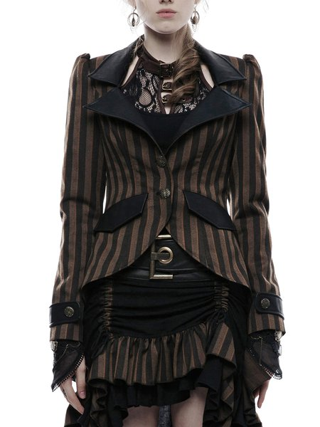 Plus Size Coffee Buttoned Lapel Long Sleeve Stripes Coat