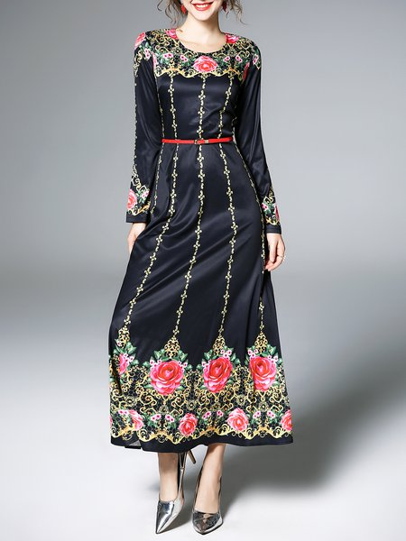 Black Long Sleeve Floral Crew Neck Maxi Dress