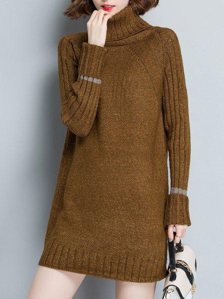 Mustard Long Sleeve Knitted Intarsia Turtleneck Sweater Dress