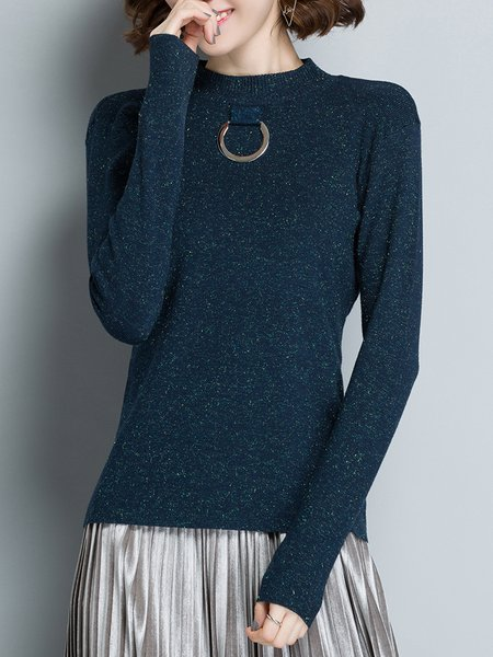 Plain Knitted Long Sleeve Simple H-line Sweater
