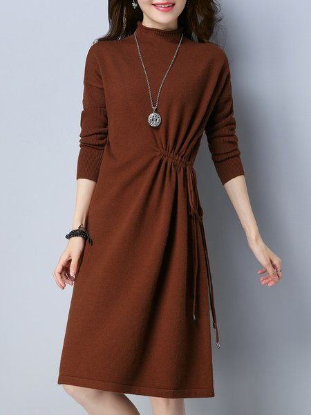 Knitted Simple Gathered A-line Long Sleeve Sweater Dress