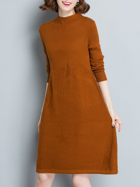 Knitted Solid Long Sleeve Asymmetrical Casual Sweater Dress