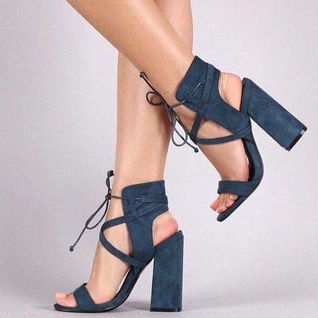Lace-up Summer Chunky Heel PU Sandal