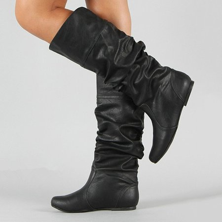 Slouchy Medium and Wide Calf Knee High Boots